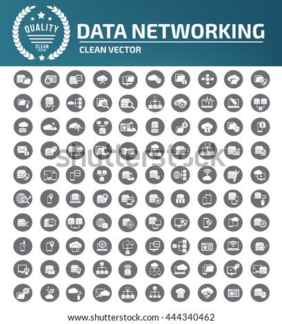 Data network,database icon,communication icon,vector