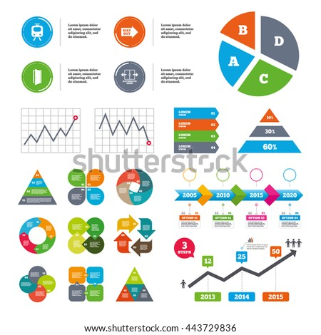 Data pie chart and graphs. Train railway icon. Automatic door symbol. Way out arrow sign. Presentations diagrams. Vector - stock vector
