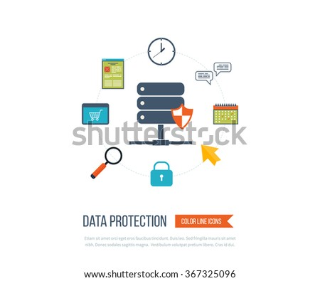 Data protection and safe work. Data safety. Internet security. Investment security. Information security.  Thin line icons. - stock vector