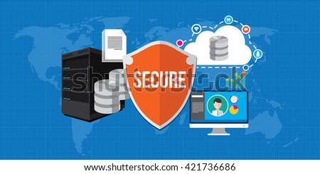 data protection database security internet shield illustration - stock vector
