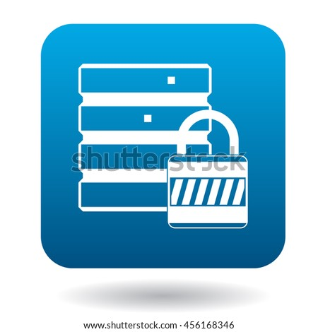 Data protection icon in simple style in blue square. Security symbol - stock vector