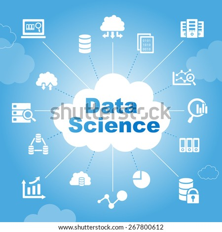 Data Science concept with icons - stock vector