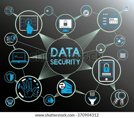 data security concept, data security icons, data protection