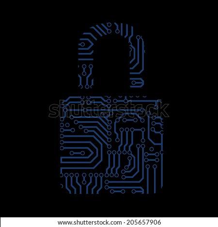 Data security icon. Circuit board padlock. Lock blue icon - stock vector