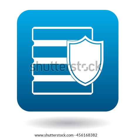 Data security icon in simple style in blue square. Protection symbol - stock vector