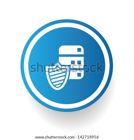 Data security symbol on blue button - stock vector