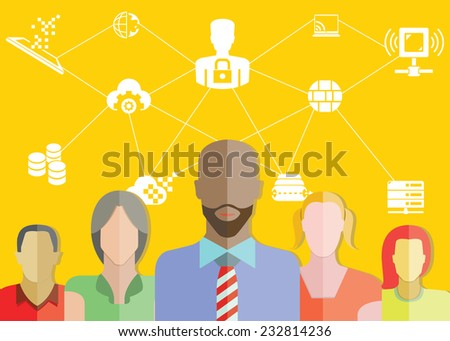 data technology, data security management concept, yellow background - stock vector