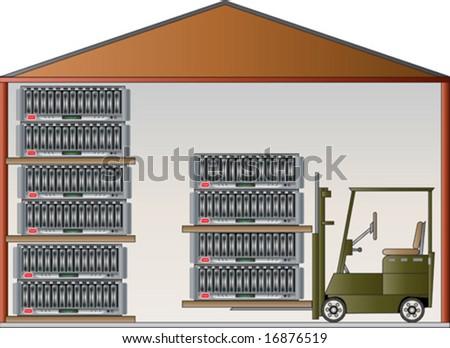 Data Warehouse vector illustration - stock vector