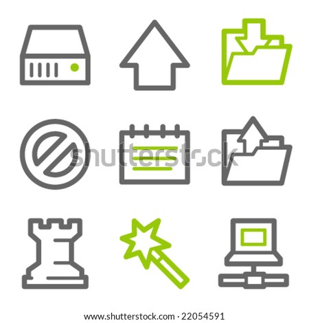 Data web icons, green and gray contour series
