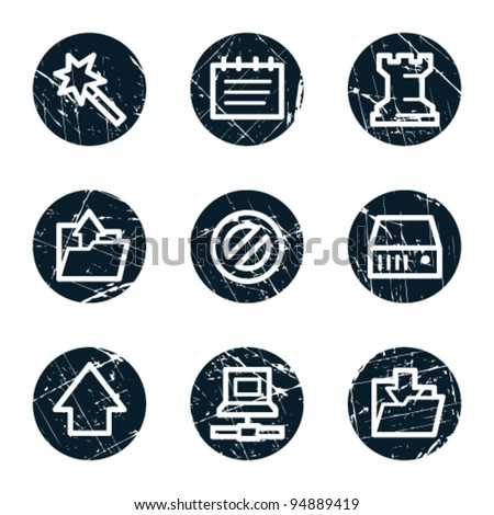 Data web icons, grunge circle buttons - stock vector