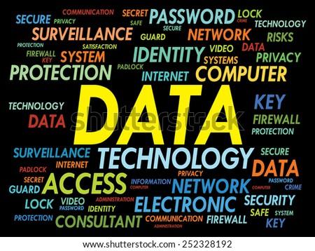 DATA word cloud, security concept - stock vector