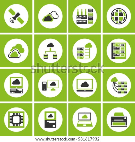 Database analytics information technology digital processign icons black set isolated vector illustration