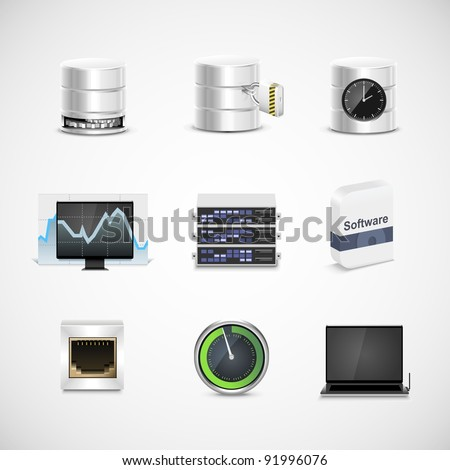 database and server vector icon set - stock vector