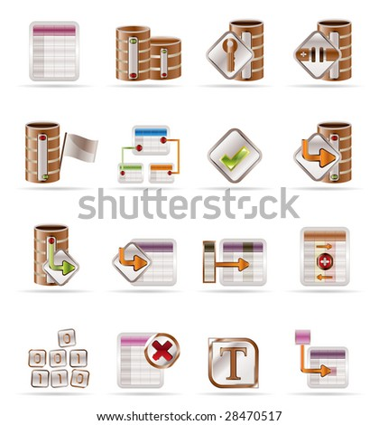 Database and table icons - Vector Icon Set - stock vector