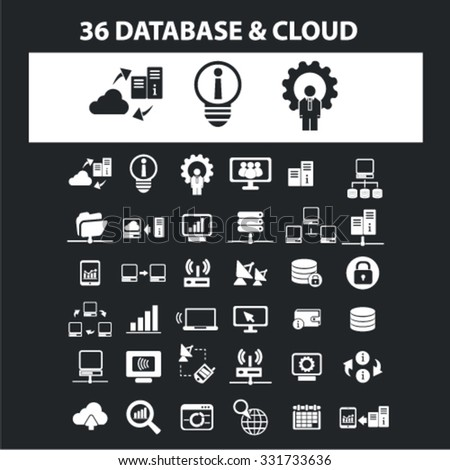 Database, cloud, development icons & signs concept vector set for infographics, website - stock vector