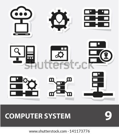 Database & computer system cartoon icons,vector - stock vector