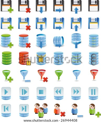 Database details icon set of 42 icon`s customized - stock vector