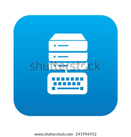 Database icon on blue button,clean vector - stock vector