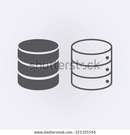 Database icon set in circle . Vector illustration - stock vector