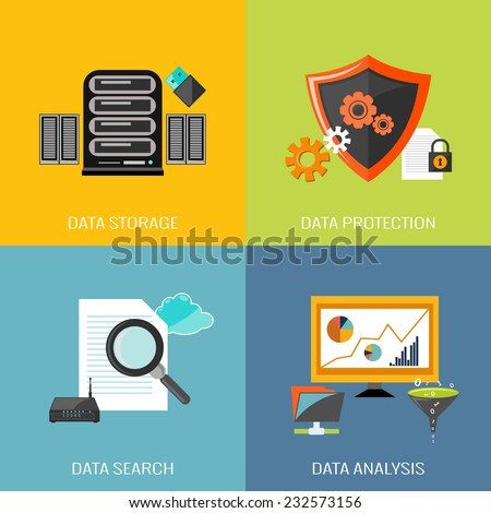 Database icons flat set with data storage protection search analysis isolated vector illustration - stock vector