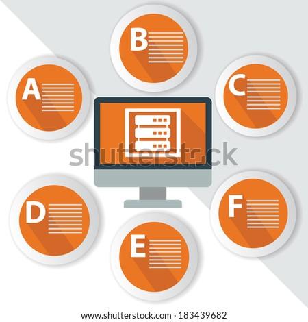 Database Infographics,for text,Orange vector - stock vector