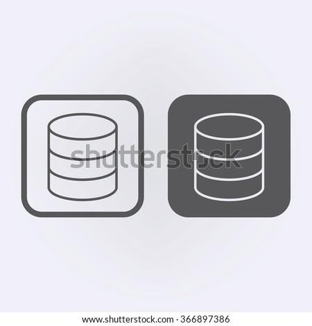 Database line icon set . Vector illustration - stock vector