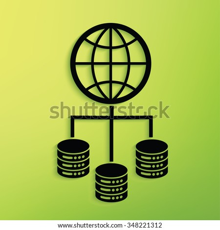 Database,network on green background,clean vector - stock vector