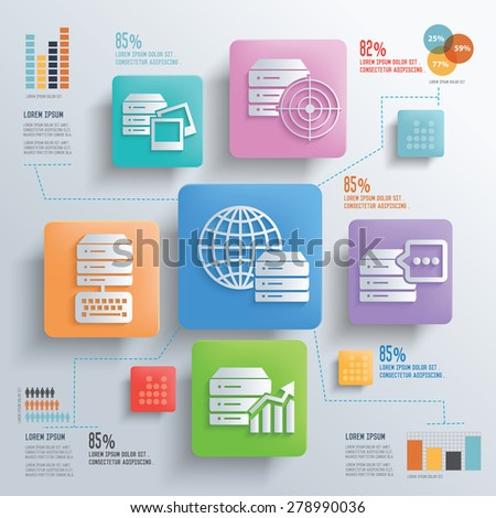 Database server and networking concept design clean background,clean vector - stock vector