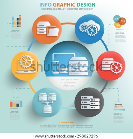 Database server concept info graphic design, Business concept design. - stock vector