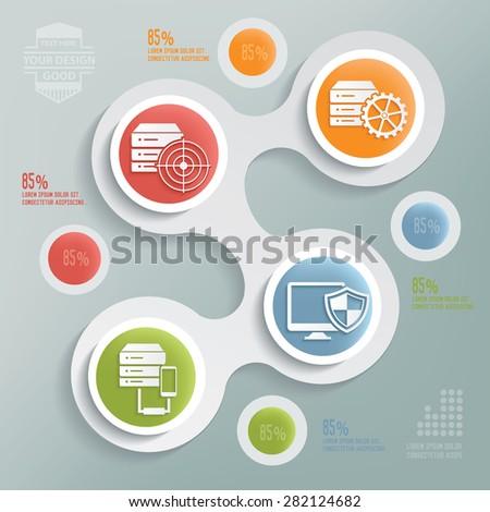 Database server design,info graphic design on blur background,clean vector - stock vector