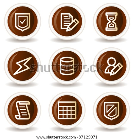 Database web icons, chocolate buttons - stock vector