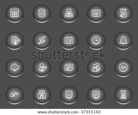 Database web icons, metal circle buttons series - stock vector