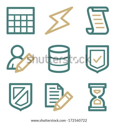 Database web icons, two color series - stock vector