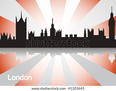 Datalnyj silhouette of the city of London - stock vector