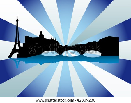 Datalnyj silhouette of the city of Paris - stock vector