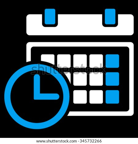 Date And Time vector icon. Style is bicolor flat symbol, blue and white colors, rounded angles, black background. - stock vector