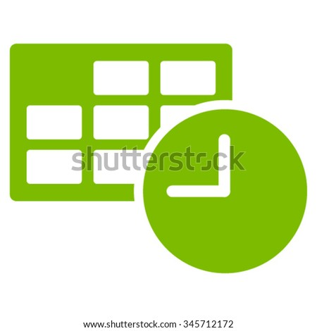Date And Time vector icon. Style is flat symbol, eco green color, rounded angles, white background. - stock vector