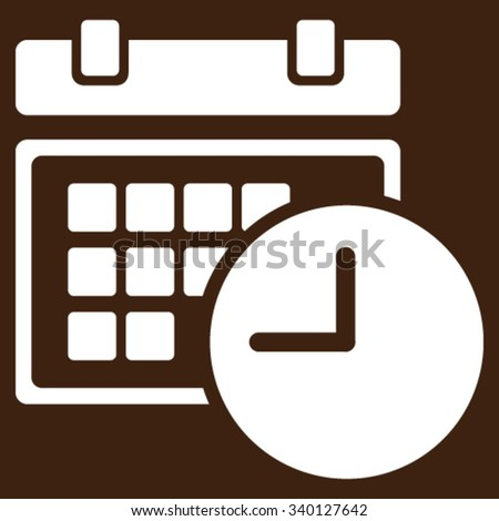 Date And Time vector icon. Style is flat symbol, white color, rounded angles, brown background.