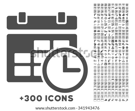 Date And Time vector icon with additional 300 date and time management pictograms. Style is flat symbols, gray color, rounded angles, white background. - stock vector