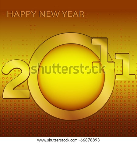 Date of New Year and inscription on a brown background - stock vector