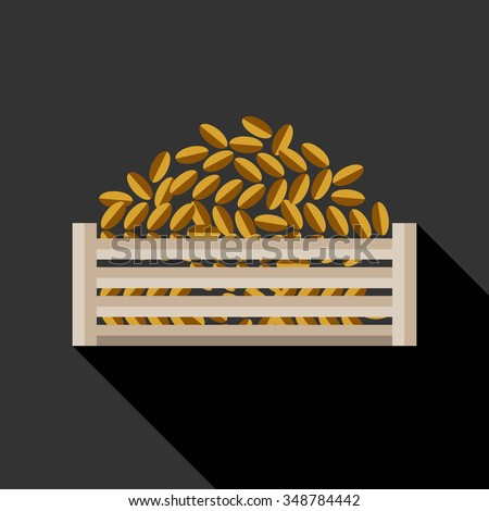 Date palm fruits in wooden crate. Arabic food. Flat style vector illustration. Ramadan iftar symbol. - stock vector