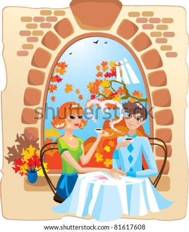 dating couple in the cafe. vector illustration - stock vector