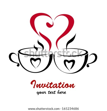 Dating heart isolated symbol made with 2 coffee cups. Vector illustration - stock vector