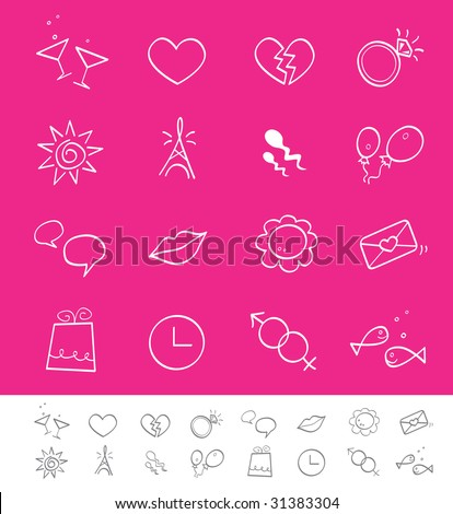 Dating, love & social icons. Vector pack for magazines and webpages. Including love, social, dating icons.