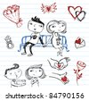 Dating.set of doodles on a love theme - stock vector
