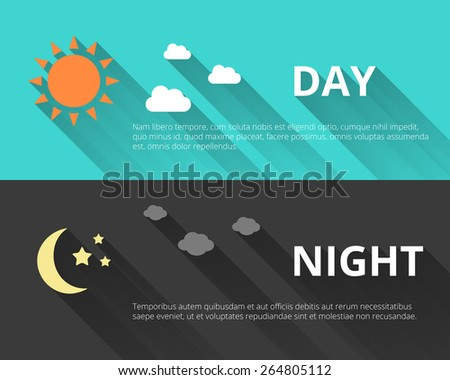 Day and night banners with sun and moon in flat style with long shadows - stock vector