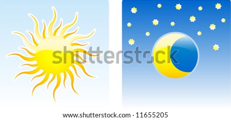 Day and night glossy icon vector illustration - stock vector