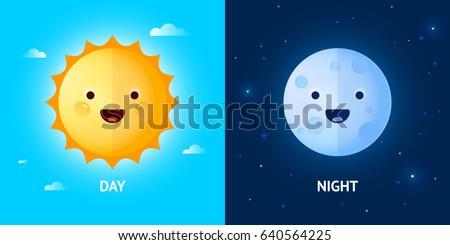 Day Night Illustrations Funny Smiling Cartoon Stock Vector