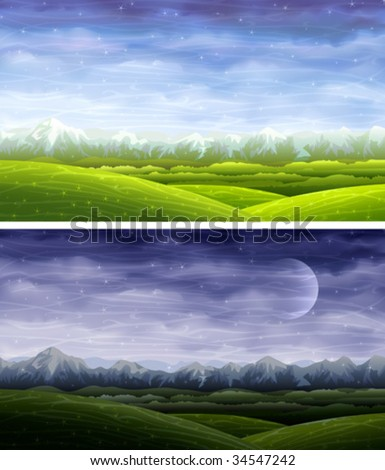 Day and night rolling landscapes  (other images from this series are in my gallery) - stock vector