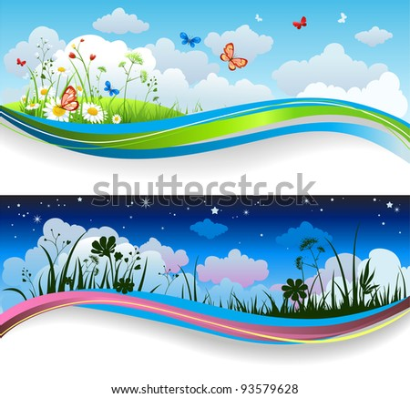 Day and night summer banners - stock vector